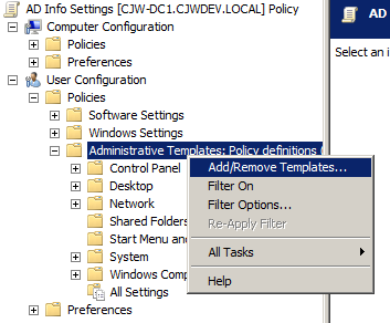 cjwdev ad info group policy settings