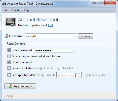 Cjwdev | AD Account Reset Tool